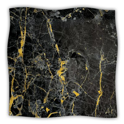 Gold Fleck Black Marble Fleece Blanket Size: 80 L x 60 W x 1 D