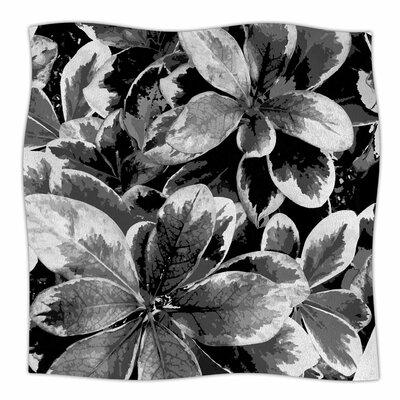 Leaves In Gray By Julia Grifol Fleece Blanket Size: 80 L x 60 W x 1 D