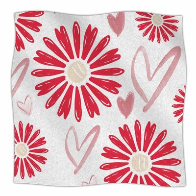 Hearts And Flowers By Alison Coxon Fleece Blanket Size: 80 L x 60 W x 1 D