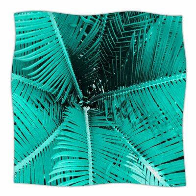 Palm Peach by Suzanne Carter Fleece Blanket Color: Aqua, Size: 60 W x 80 L