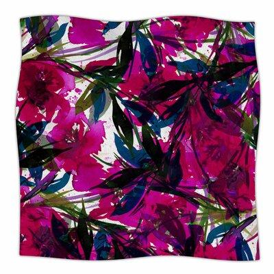 Floral Fiesta By Ebi Emporium Fleece Blanket Size: 60 L x 50 W x 1 D, Color: Magenta/Blue