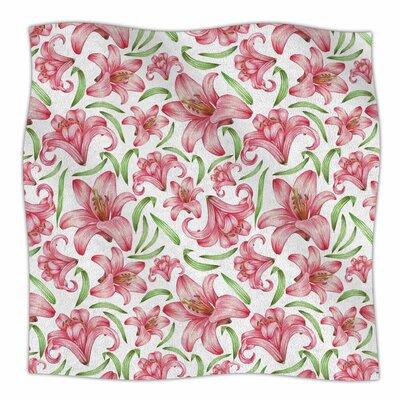 Lily Flowers By Alisa Drukman Fleece Blanket Size: 80 L x 60 W x 1 D