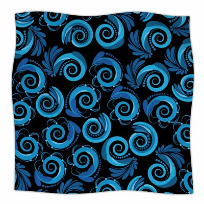 Waves by Maria Bazarova Fleece Blanket Size: 60 W x 80 L, Color: Blue/Black