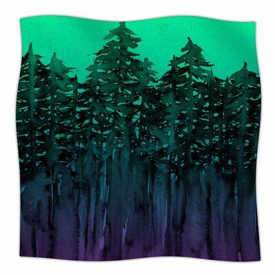 Forest Through The Trees By Ebi Emporium Fleece Blanket Size: 80 L x 60 W x 1 D, Color: Purple/Black