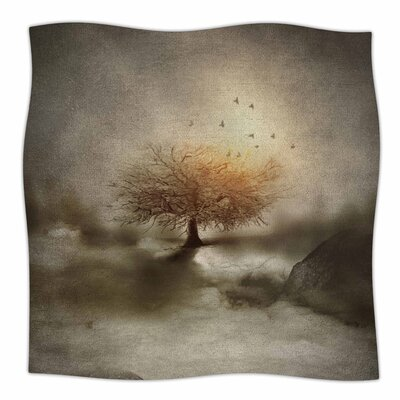 Lone Tree Love IV By Viviana Gonzalez Fleece Blanket Size: 80 L x 60 W x 1 D