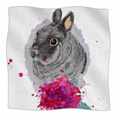 Bunny Rose By Cecibd  Fleece Blanket Size: 80 L x 60 W x 1 D