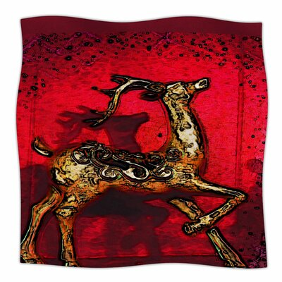 Dash on by Anne LaBrie Fleece Blanket Color: Red, Size: 50 W x 60 L