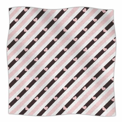 Pastel Stripe Heart By Vasare Nar Fleece Blanket Size: 80 L x 60 W x 1 D