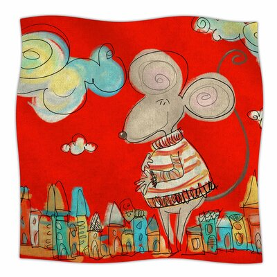 Urban Mouse by Carina Povarchik Fleece Blanket Color: Red, Size: 60 W x 80 L
