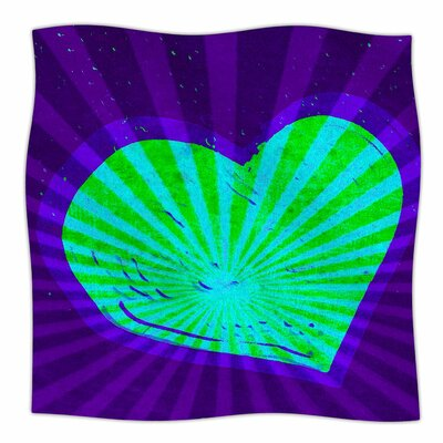 Love Beams By Anne LaBrie Fleece Blanket Size: 80 L x 60 W x 1 D, Color: Purple/Green