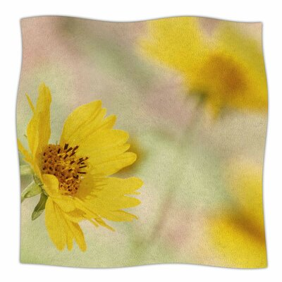 'Abstract Yellow Flowers' By Sylvia Coomes Fleece Blanket Size: 60