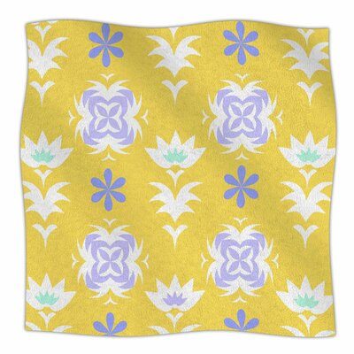 Edwardian Tile By Alison Coxon Fleece Blanket Size: 80 L x 60 W x 1 D, Color: Yellow