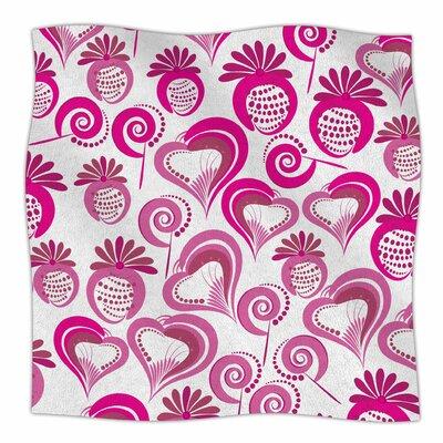 Sweet Love by Maria Bazarova Fleece Blanket Size: 50 W x 60 L, Color: Pink/White