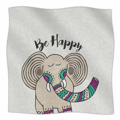 Be Happy By Pom Graphic Design Fleece Blanket Size: 80 L x 60 W x 1 D