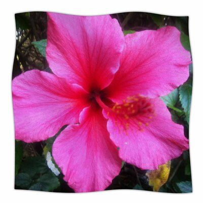 Tropical Pink Hibiscus By NL Designs Fleece Blanket Size: 80 L x 60 W x 1 D