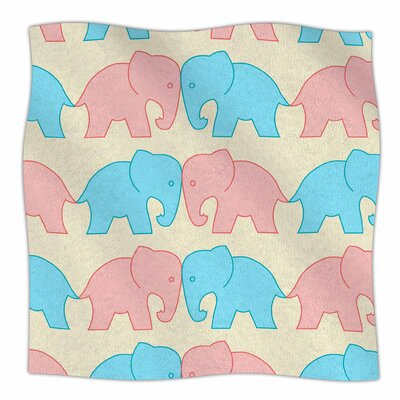 Elephants On Parade By NL Designs Fleece Blanket Color: Pastel, Size: 80 L x 60 W x 1 D