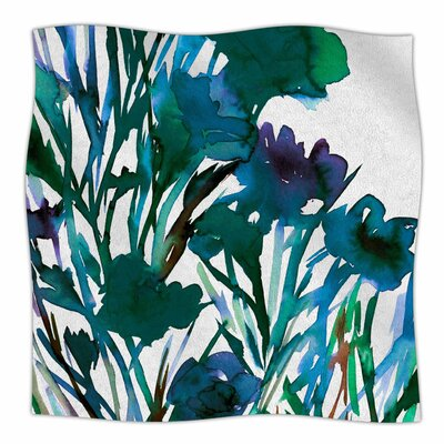 Petal For Your Thoughts Teal By Ebi Emporium Fleece Blanket Size: 80 L x 60 W x 1 D