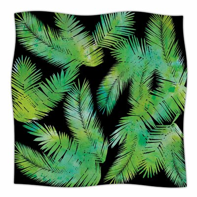 Tropic by Draper Fleece Blanket Color: Green, Size: 50 W x 60 L