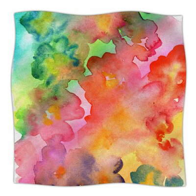 Spring Colours By Louise Machado Watercolor Floral Fleece Blanket Size: 80 L x 60 W x 1 D