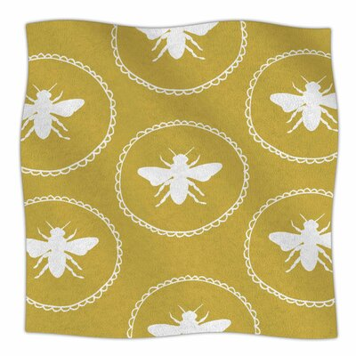 Busy As A Bee By Jennifer Rizzo Fleece Blanket Size: 80 L x 60 W x 1 D, Color: Maize/Gold