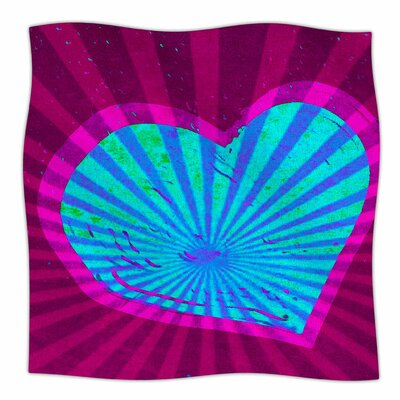 Love Beams By Anne LaBrie Fleece Blanket Size: 60 L x 50 W x 1 D, Color: Pink/ Blue