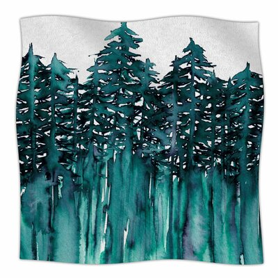 Forest Through The Trees By Ebi Emporium Fleece Blanket Size: 80 L x 60 W x 1 D, Color: Teal/White