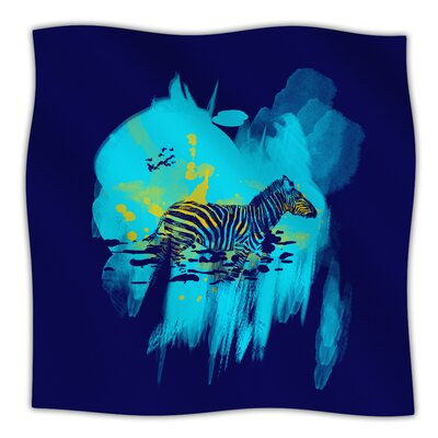 Watercolored Frederic Levy Hadida Fleece Blanket Size: 90 W x 90 L, Color: Blue