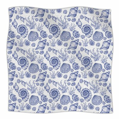 Seashells By Alisa Drukman Fleece Blanket Size: 60 L x 50 W x 1 D, Color: Blue