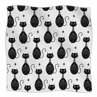 Cat Pattern by Cristina Bianco Design Fleece Blanket Color: Black, Size: 50 W x 60 L