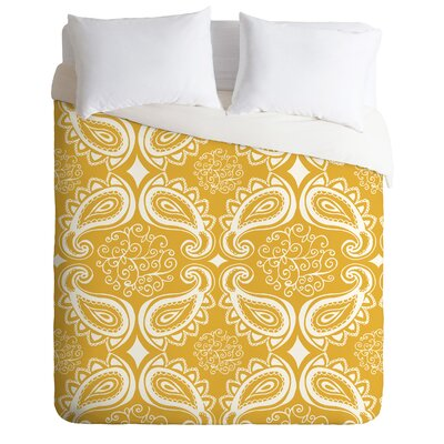 Heather Dutton Plush Paisley Goldenrod Duvet Cover Size: Twin/Twin XL