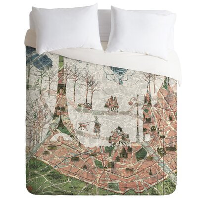 Under the Paris Sun Duvet Cover Size: Queen