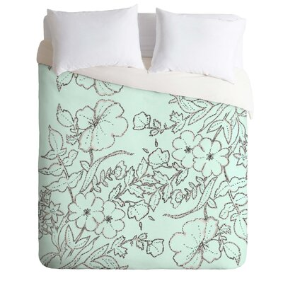 Dotted Floral Duvet Cover Size: Queen