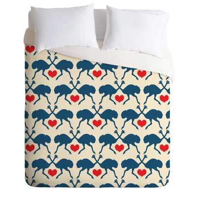 Ostrich and Heart Duvet Cover Size: Twin/Twin XL