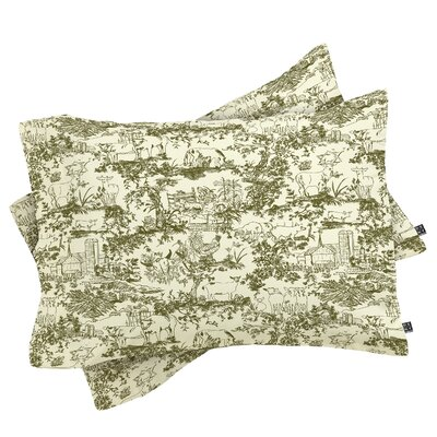 Rachelle Roberts Farm Land Toile in Vintage Pillowcase Color: Pink