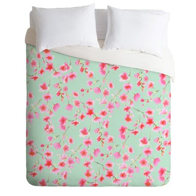 Cherry Blossom Mint Duvet Cover Size: Twin/Twin XL