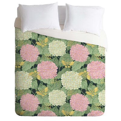 Belle13 Hydrangea and Butterflies Duvet Cover Size: Queen