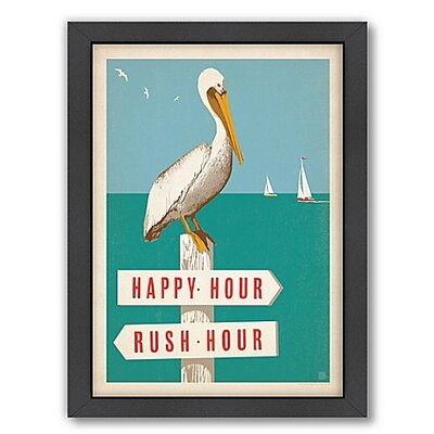 Pelican On Rush Hour Happy Hour Sign Framed Graphic Art Size: 12 H x 12 W x 1 D