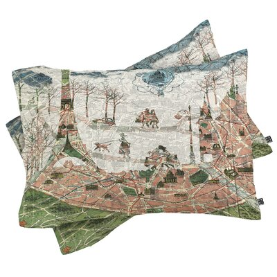 Map Under the Paris Sun Pillowcase