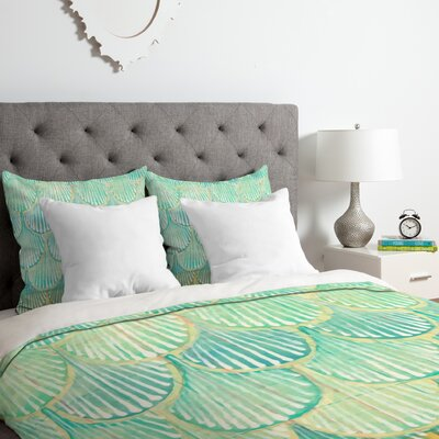 Turquoise Scallops Duvet Cover Set Size: Queen