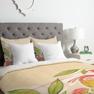 Cori Dantini Little Bird on A Flowery Branch Duvet Cover Set Size: Queen