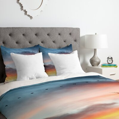 Bird Line Duvet Cover Set Size: King