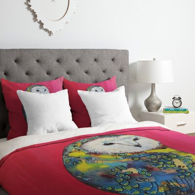 Owl on Lipstick Duvet Cover Set Size: Twin/Twin XL