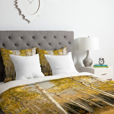Bird Wanna Whistle Golden Aspen Duvet Cover Set Size: King