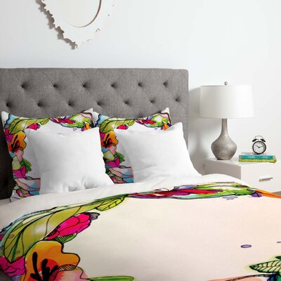 Cayenablanca Floral Frame Duvet Cover Set Size: Queen
