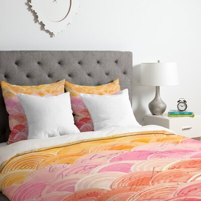 Warm Spectrum Rainbow Duvet Cover Set Size: King