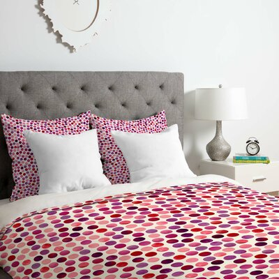 Watercolor Dots Berry Duvet Cover Set Size: King