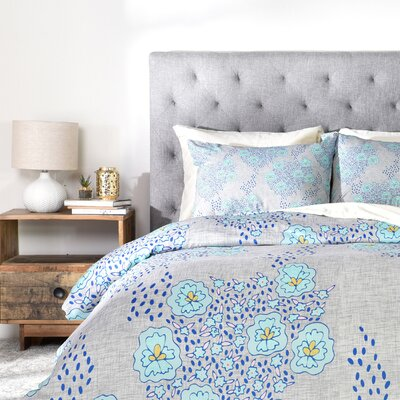 Turquoise Floral Duvet Cover Set Size: Queen