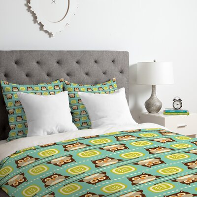Owl Town Teal Duvet Cover Set Size: King