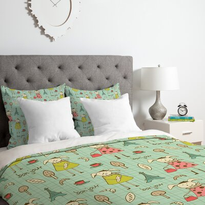 Heather Dutton Bonjour Lapin Duvet Cover Set Size: Queen