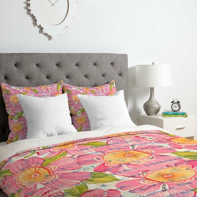Pinky Blooms Duvet Cover Set Size: Twin/Twin XL